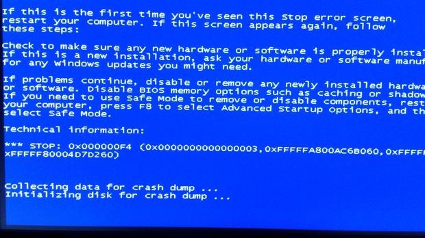 蓝屏代码0x000000F4
